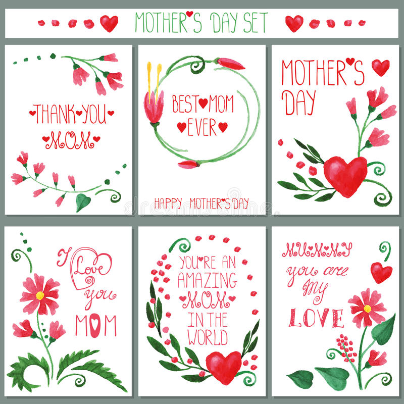 Akwarela kwiatów karty czerwony set dzień kwiat daje mum syna matkom royalty ilustracja
