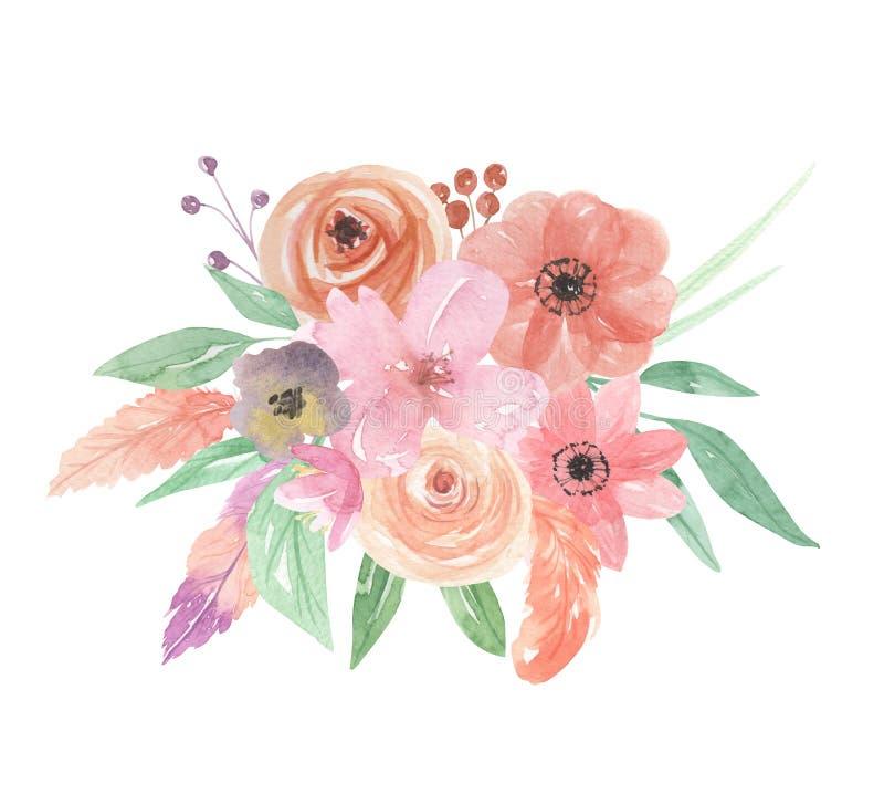 Akwarela kwiatów Kwiecisty Malujący bukiet Upierza jagody royalty ilustracja