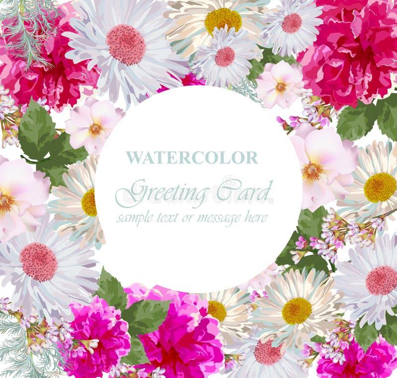 Akwarela kwiatów okwitnięcia karta Rocznika kolorowy kartka z pozdrowieniami Lato peonie i Kwitnie dekorację ilustracji
