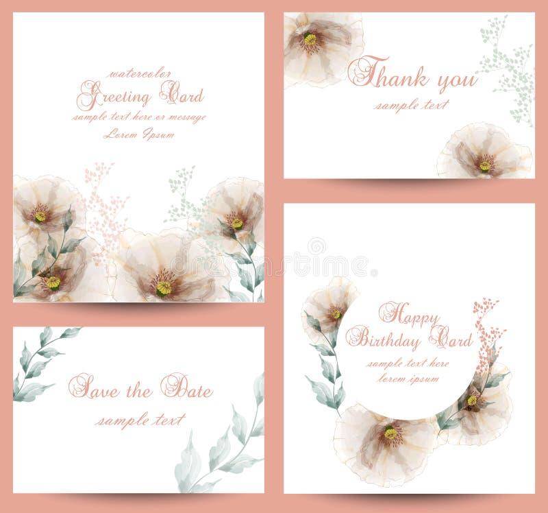 Akwarela kwiatów okwitnięcia karty ustalony wektor Roczników kartka z pozdrowieniami, ślubny zaproszenie, dziękuje ciebie pocztów ilustracja wektor