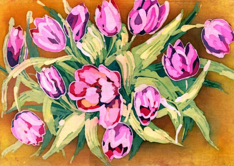 Akwarela kwiatów różowy tulipan ilustracja na beżowym tle ilustracja wektor