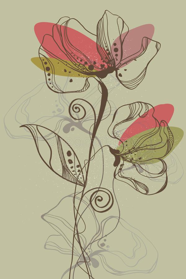 Akwarela kwiat 01 royalty ilustracja