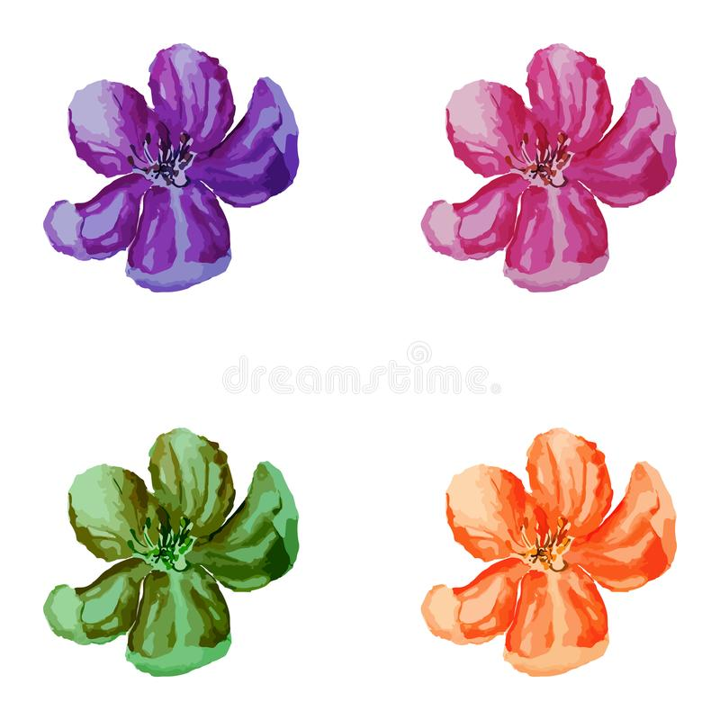 Akwarela kwiat Ustawiający wektor royalty ilustracja