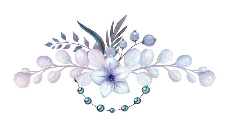 Akwarela kwiatu bukiet dla karty ilustracja wektor