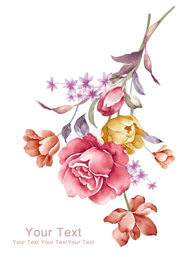 Akwarela kwiatu ilustracyjny bukiet w prostym tle ilustracja wektor
