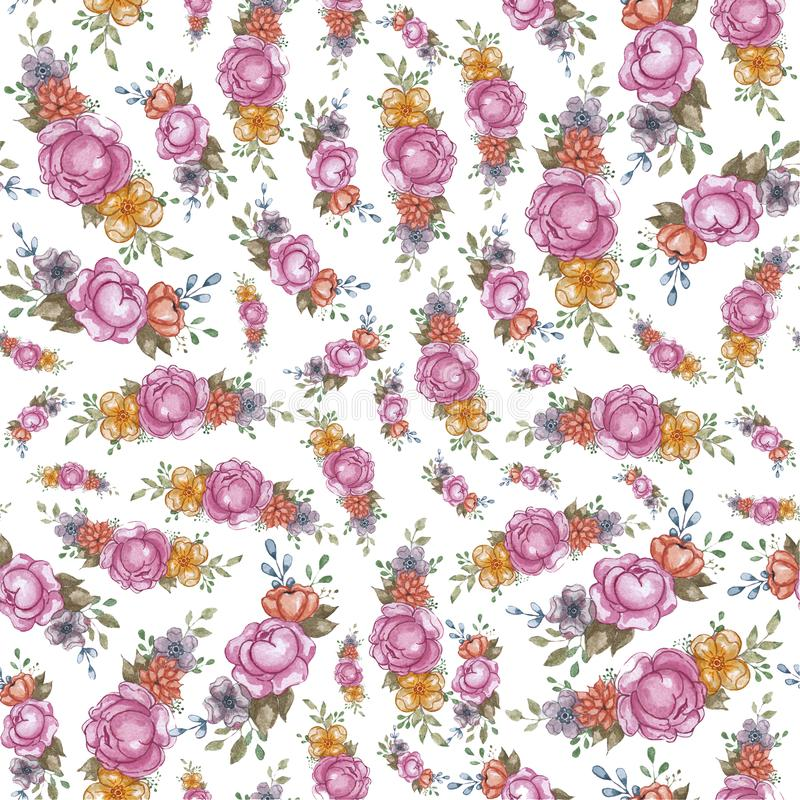 Akwarela kwiatu menchii wzoru ręki remisu kwiecista ilustracja dla zaproszenia, ślubu, kart, loga lub inny, projekt fotografia royalty free