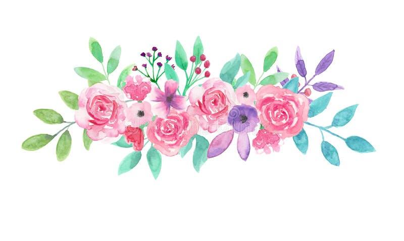 Akwarela kwiatu przygotowania menchii Kwiecista ręka Malujący bukiet royalty ilustracja