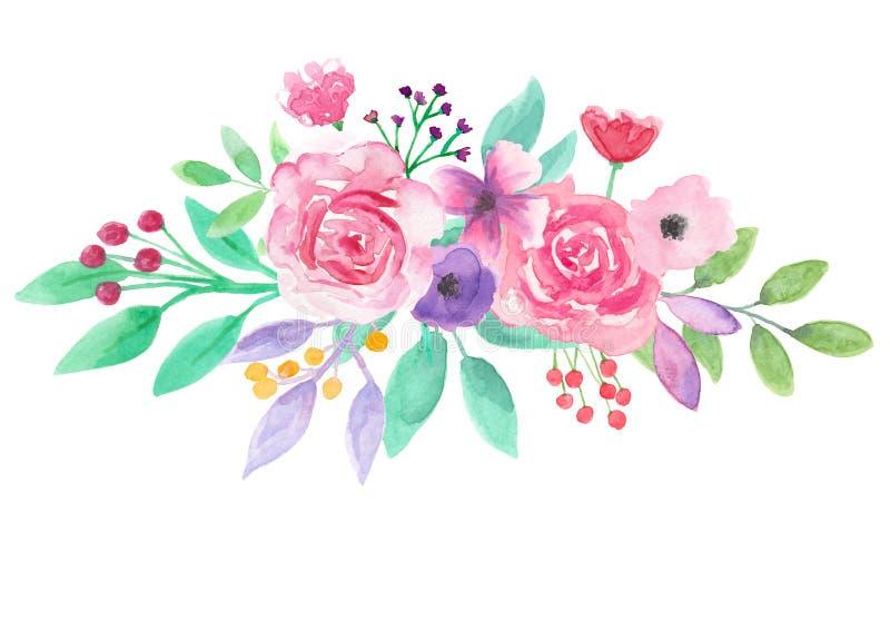 Akwarela kwiatu przygotowania menchii purpur Kwiecista ręka Malujący bukiet royalty ilustracja