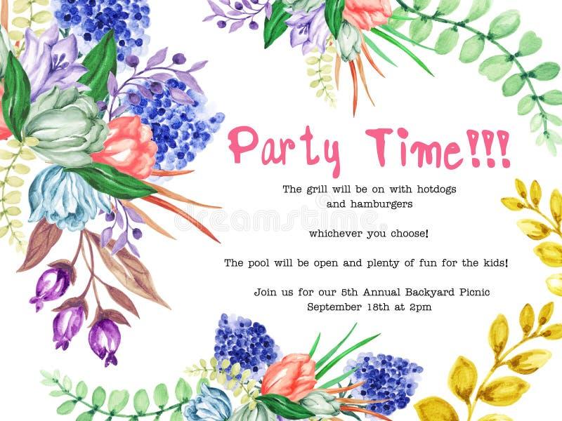 Akwarela kwiatu tulipanów ogródu liści i kwiatu projekt dla zaproszenie karty wakacyjnego przyjęcia elegancji ślubu ręki maluje ilustracja wektor