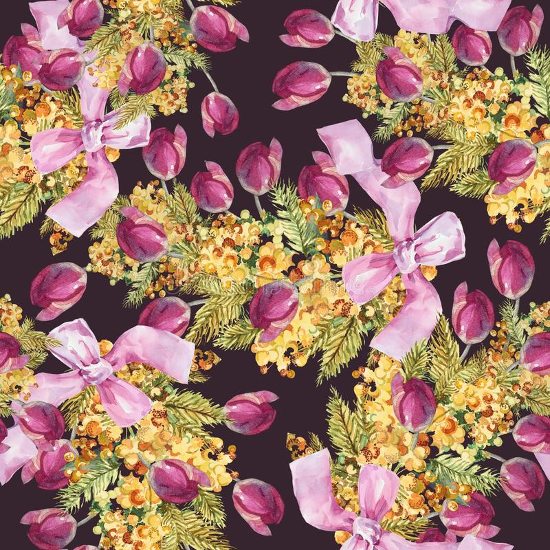 Akwarela kwiaty różowy tulipan i mimozy z łękiem Bezszwowy wzór na Burgundy tle ilustracja wektor