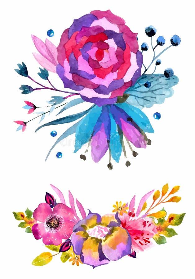Akwarela kwiaty ustawiający Kolorowa kwiecista kolekcja z liśćmi a ilustracji