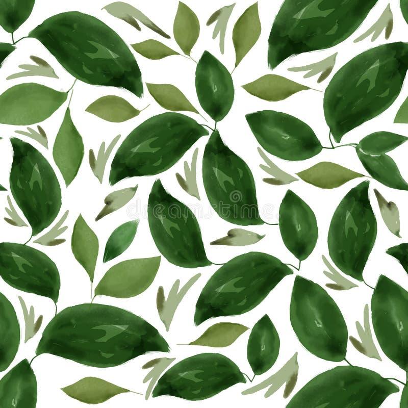 Akwarela Kwiecistego liścia Bezszwowy wzór ilustracja wektor