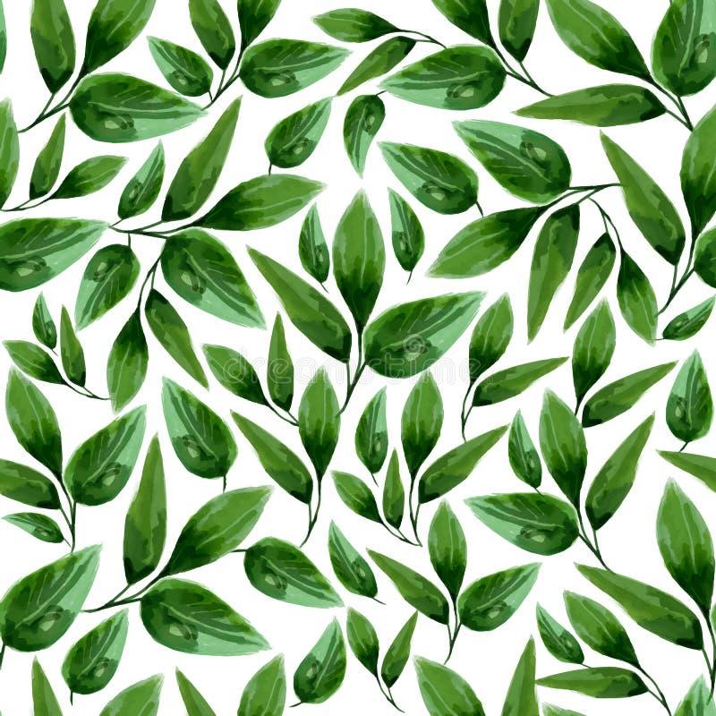Akwarela Kwiecistego liścia Bezszwowy wzór royalty ilustracja