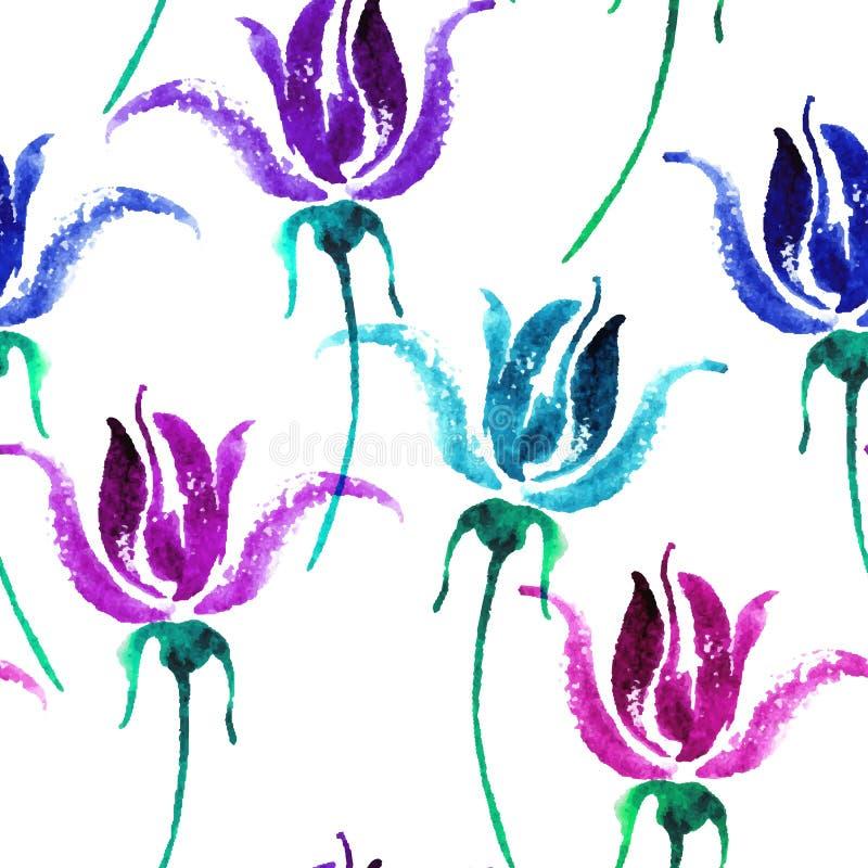 Akwarela kwiecisty bezszwowy wzór Piękna wektorowa ręka rysująca tekstura Romantyczny tło dla stron internetowych, poślubia ilustracji