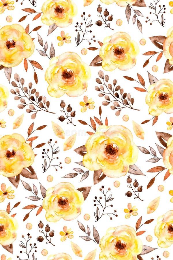 Akwarela kwiecisty bezszwowy wzór z kolorów żółtych liśćmi i kwiatami royalty ilustracja