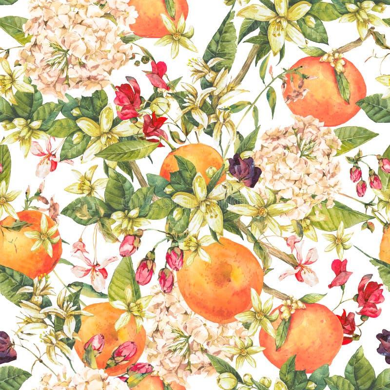 Akwarela kwiecisty bezszwowy wzór z pomarańczową gałązką, lato przepływ ilustracja wektor