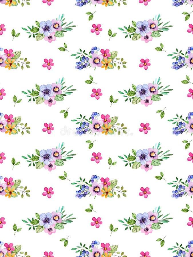 Akwarela kwiecisty bezszwowy wzór z stubarwnymi kwiatami, liście, jagody royalty ilustracja