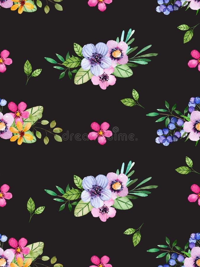 Akwarela kwiecisty bezszwowy wzór z stubarwnymi kwiatami, liście, jagody na czarnym tle royalty ilustracja
