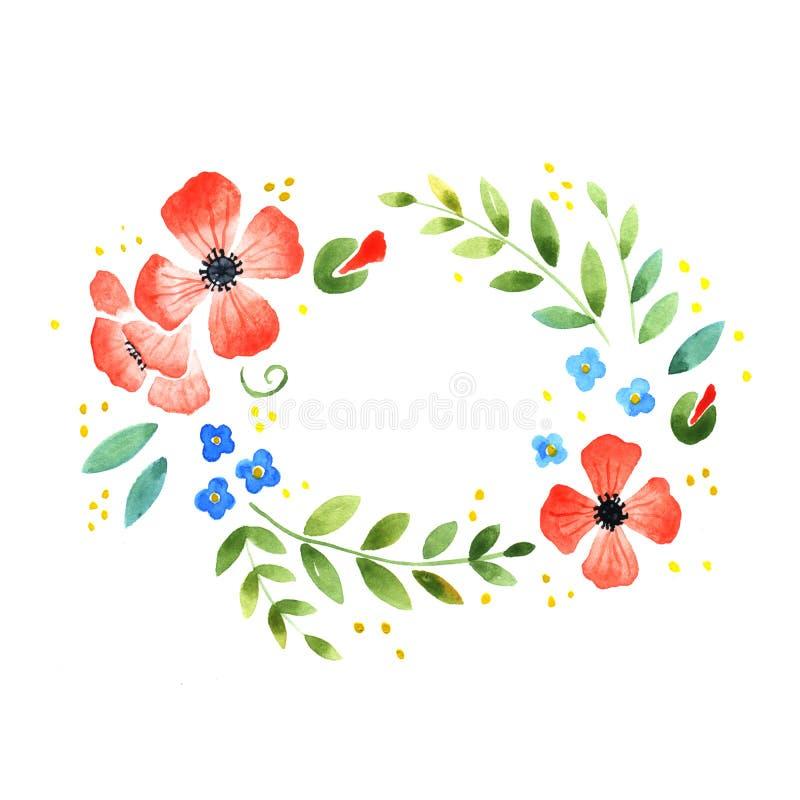 Akwarela kwiecisty dekoracyjny element royalty ilustracja