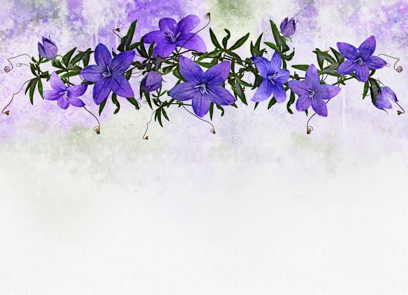 Akwarela Kwiecisty set z b??kitnymi kwiatami ?lubny Karciany projekt w wie?niaka stylu Rocznika Kwiecisty bukiet z b??kit zieleni royalty ilustracja