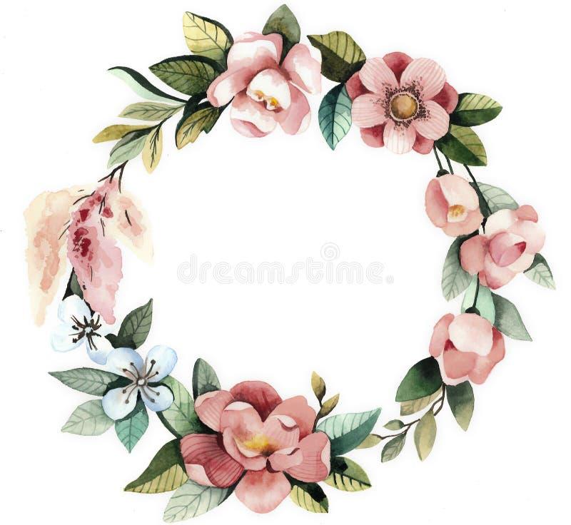 Akwarela kwiecisty wianek z magnoliami, zieleń opuszcza i rozgałęzia się ilustracja wektor