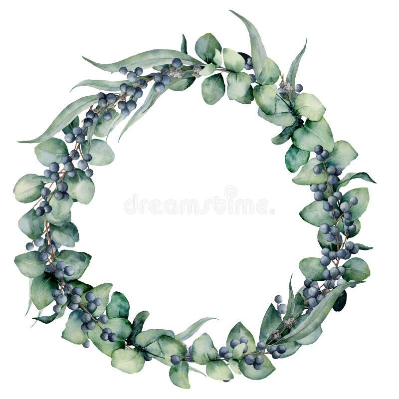 Akwarela kwiecisty wianek z różnymi eukaliptusów liśćmi, jagodami i Wręcza malującego wianek z dziecka błękitem, siver dolar royalty ilustracja