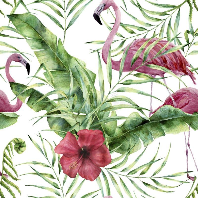 Akwarela kwiecisty wzór z egzotycznymi kwiatami, liśćmi i flamingiem, Ręka malujący ornament z tropikalną rośliną: hibiscu ilustracji