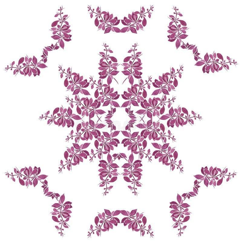 Akwarela kwiecisty wzór z purpury gałązką zdjęcie royalty free