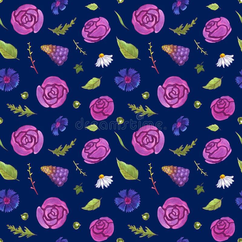 Akwarela kwitnie bezszwowego wzór Wiosna Kwiaty i liście Być może obraz stock