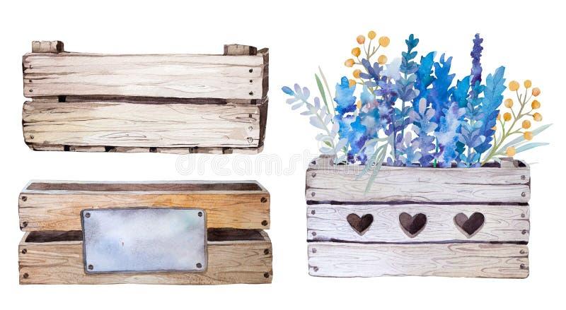 Akwarela kwitnie drewnianego pudełko Pociągany ręcznie rocznik ilustracja wektor