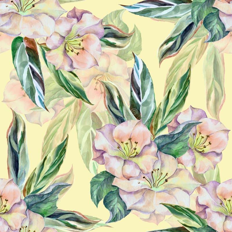 Akwarela kwitnie z liśćmi Bezszwowy wzór na kremowym tle royalty ilustracja