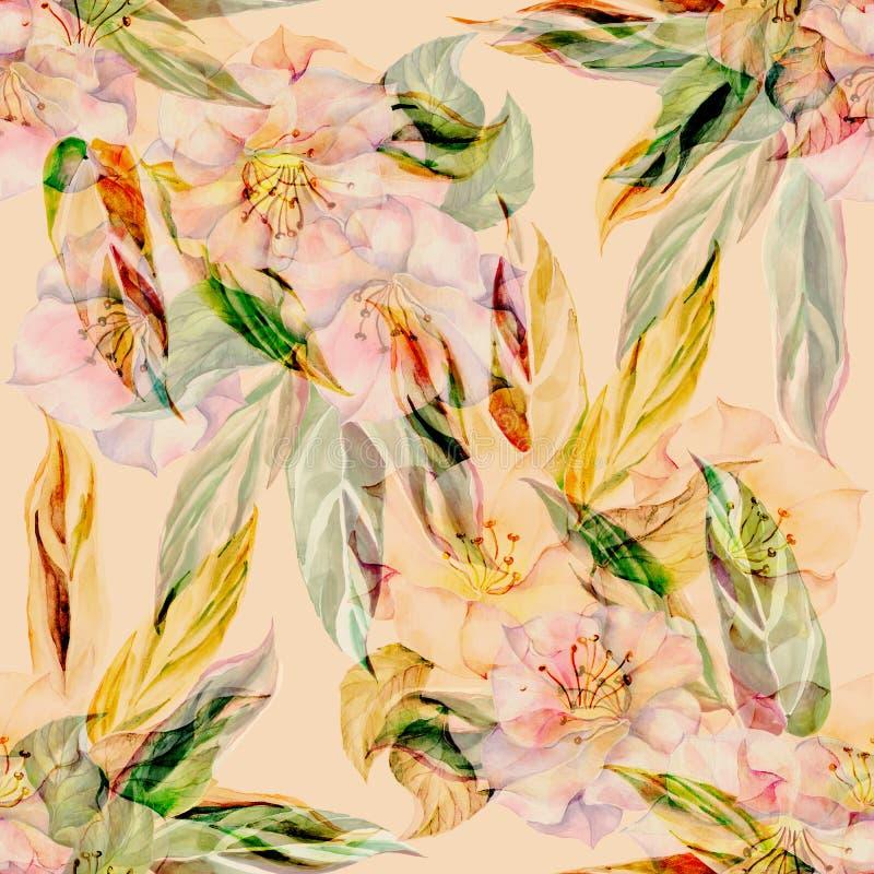 Akwarela kwitnie z liśćmi Monochromatyczny bezszwowy wzór na żółtym tle ilustracji