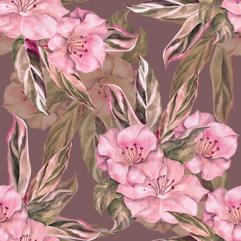 Akwarela kwitnie z liśćmi Monochromatyczny bezszwowy wzór na różowym tle royalty ilustracja