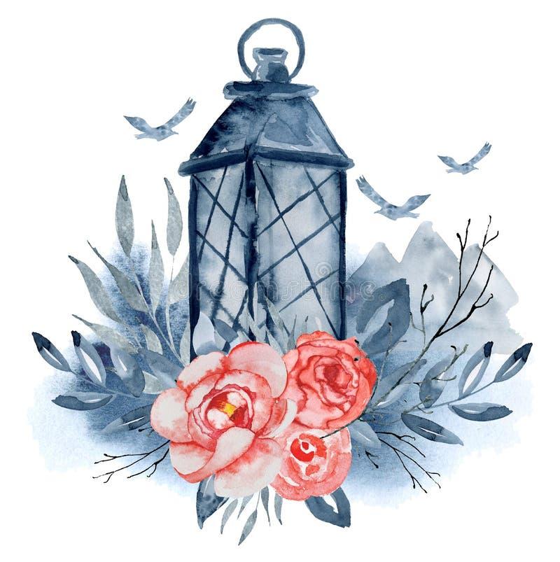 Akwarela lampion z czerwień kwiatami, indygowe gałąź, liście, góry i latający ptaki, Wręczamy patroszonego kwiecistego bukiet ilustracja wektor
