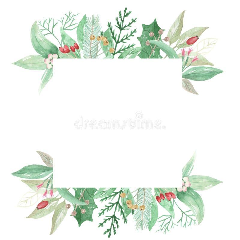 Akwarela liści kwiatów Bożenarodzeniowych jagod kwadrata ramy Świąteczna granica ilustracja wektor
