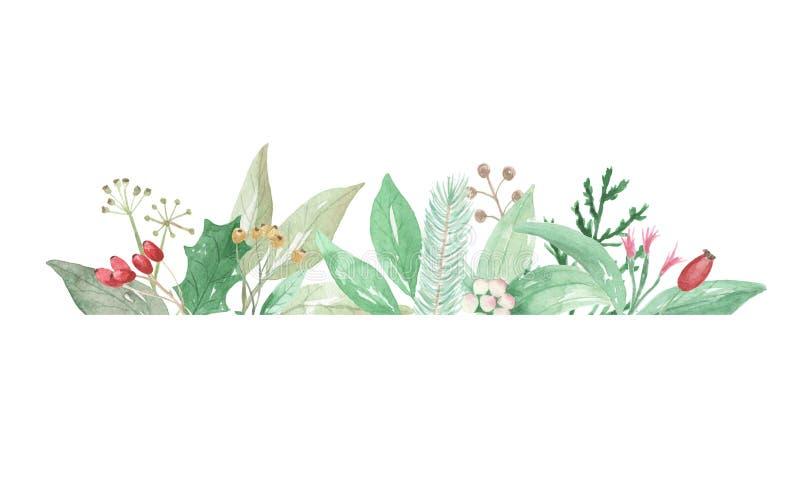 Akwarela liści kwiatów Bożenarodzeniowych jagod ramy Świąteczna granica royalty ilustracja