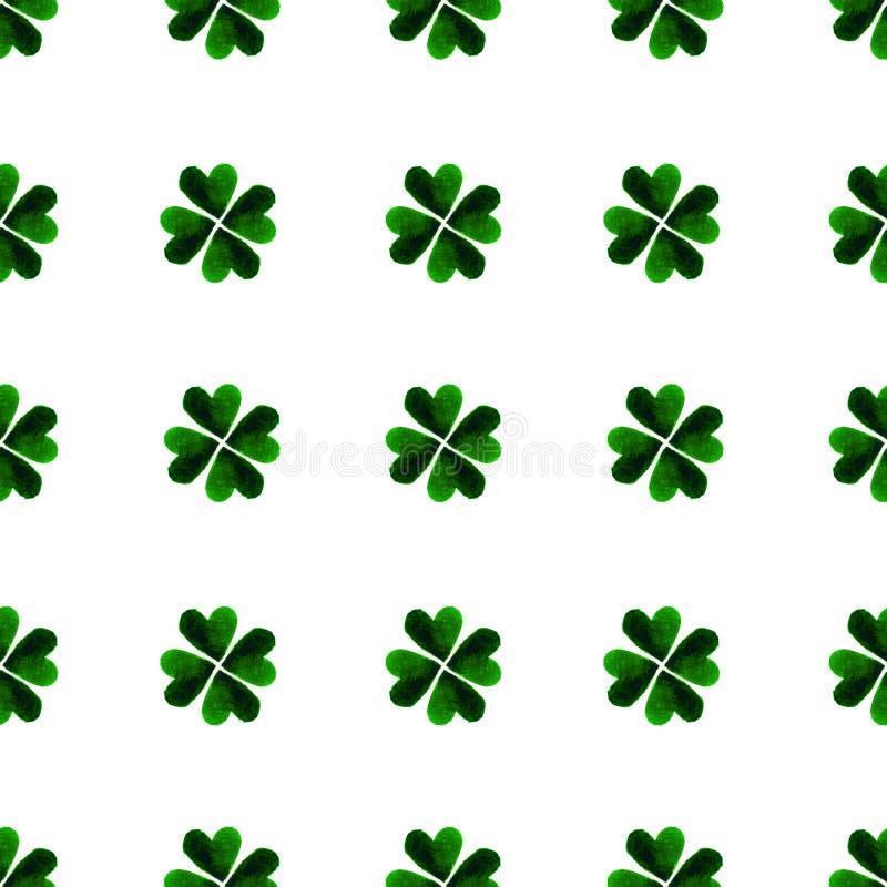 Akwarela liścia koniczyny zieleni liście Patrick st dni tło dobroczynność Ręka malująca ilustracja royalty ilustracja