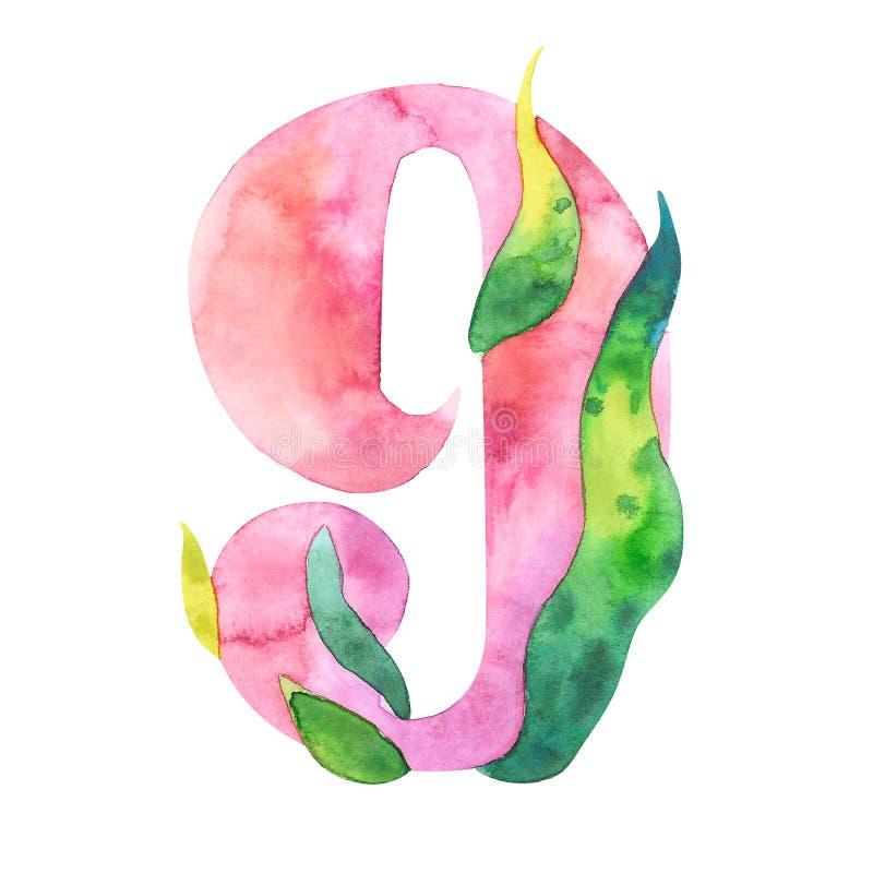 Akwarela liczba 9, kwiecisty styl, peoni przestylizowanie, odosobniony charakter dziewięć na bielu ilustracji