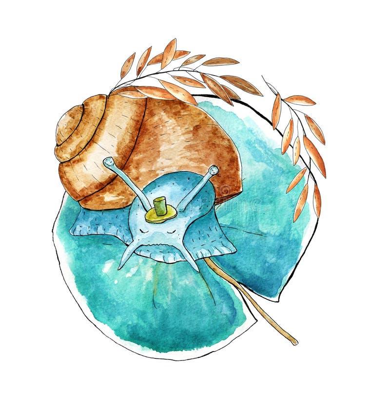 Akwarela ?limaczka charakter royalty ilustracja