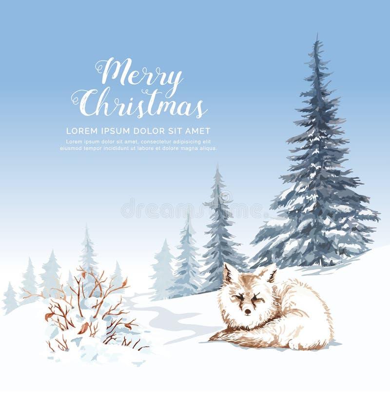 Akwarela lis na śnieg suchych gałąź sośnie i royalty ilustracja