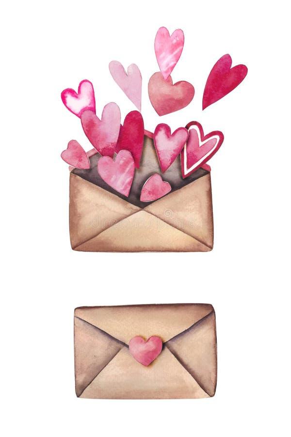 Akwarela listy miłośni ustawiający: piękne koperty z sercami royalty ilustracja