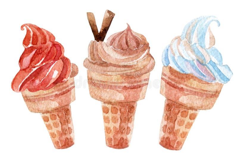 Akwarela lody ustawiający odizolowywającym na białym tle ilustracji