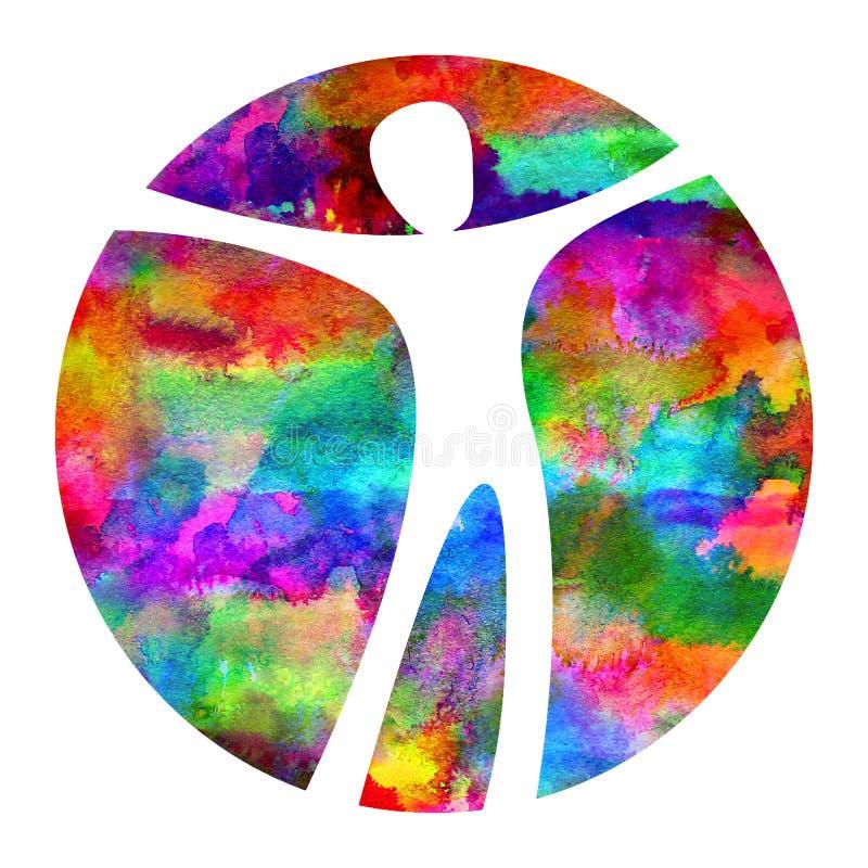 Akwarela loga Nowożytnego mężczyzna znak psychologia Istota ludzka w okręgu Kreatywnie styl Ikona wewnątrz Projekta pojęcie gatun royalty ilustracja