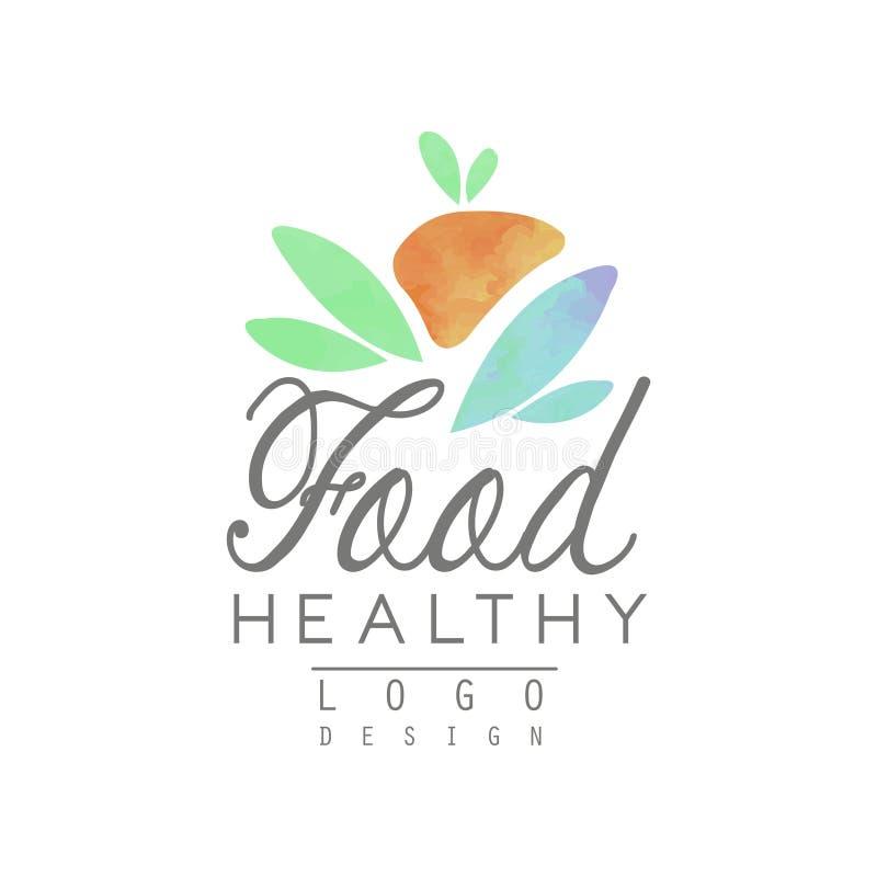 Akwarela loga szablon z abstrakcjonistyczną owoc i liśćmi Zdrowy Styl życia Naturalny łasowanie Projekt dla żywności organicznej royalty ilustracja