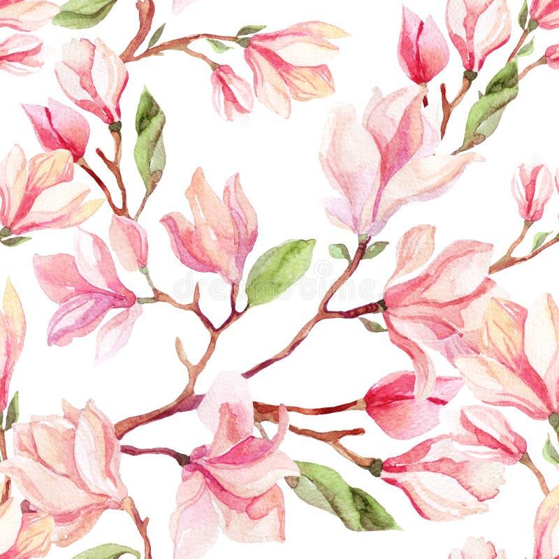 Akwarela magnoliowego kwiatu bezszwowy wzór royalty ilustracja