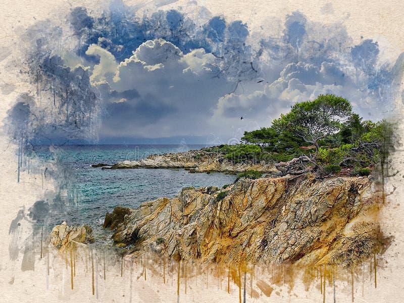 Akwarela malował plażę, niebieskie niebo, skały i drzewa, ilustracja wektor