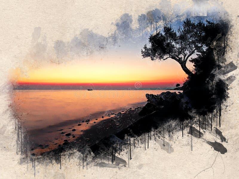 Akwarela malował plażę, zmierzch, pomarańczowego niebo, skały i drzewa, ilustracji