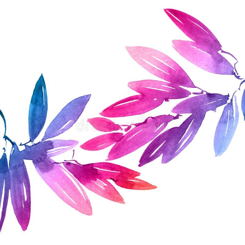 Akwarela malował różowych i błękitnych tęczy drzewa liście ilustracja wektor