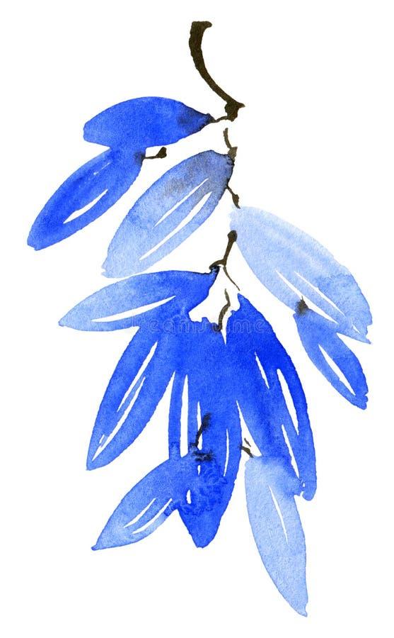 Akwarela malujący błękitni drzewo liście ilustracja wektor