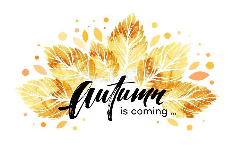 Akwarela malujący jesień liści sztandar Spadku tła projekt również zwrócić corel ilustracji wektora royalty ilustracja